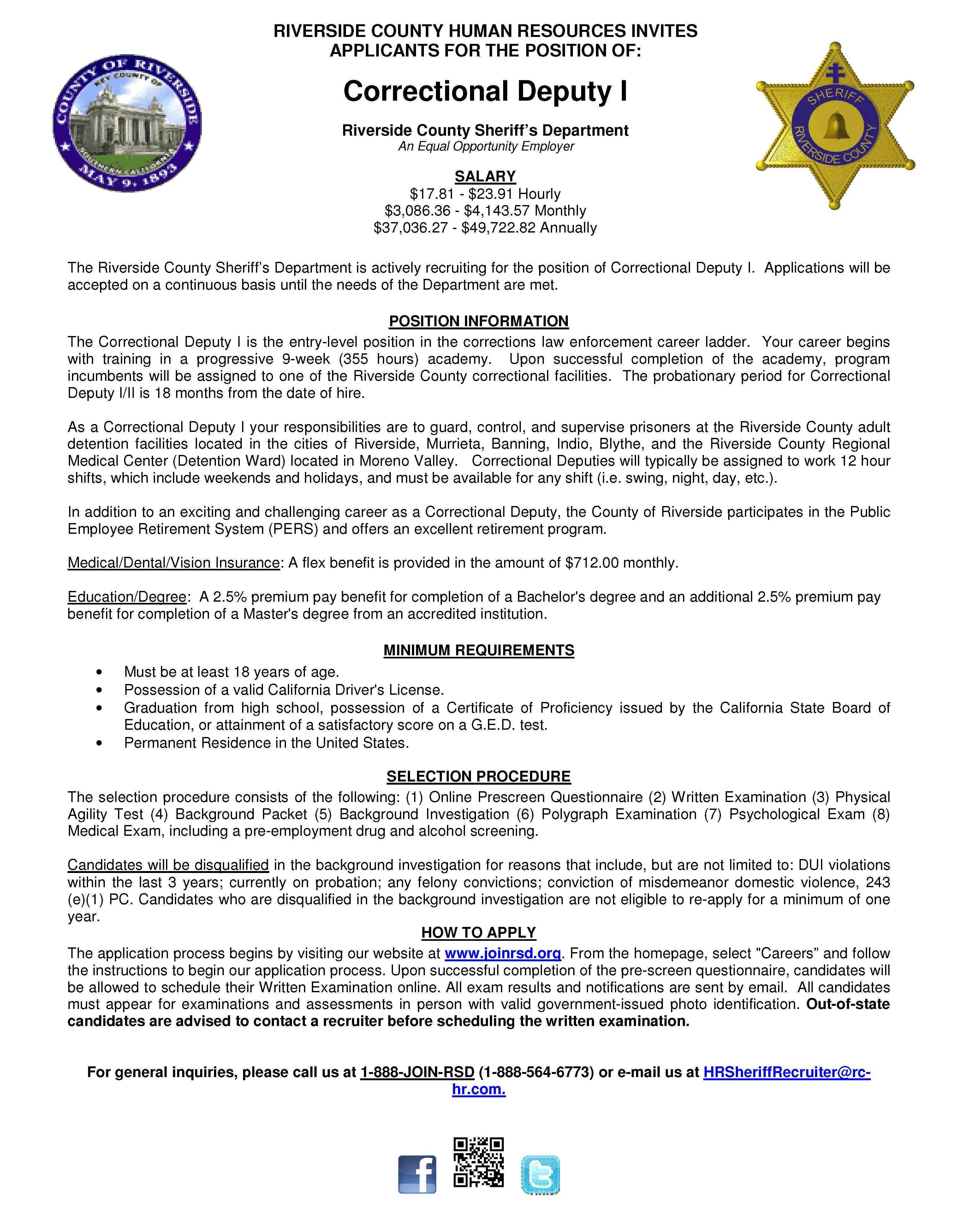 Correctional Deputy I Riverside County Sheriff Riverside County