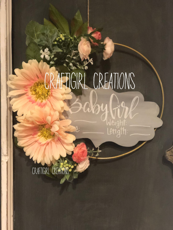 Custom Floral Baby Door Hangers