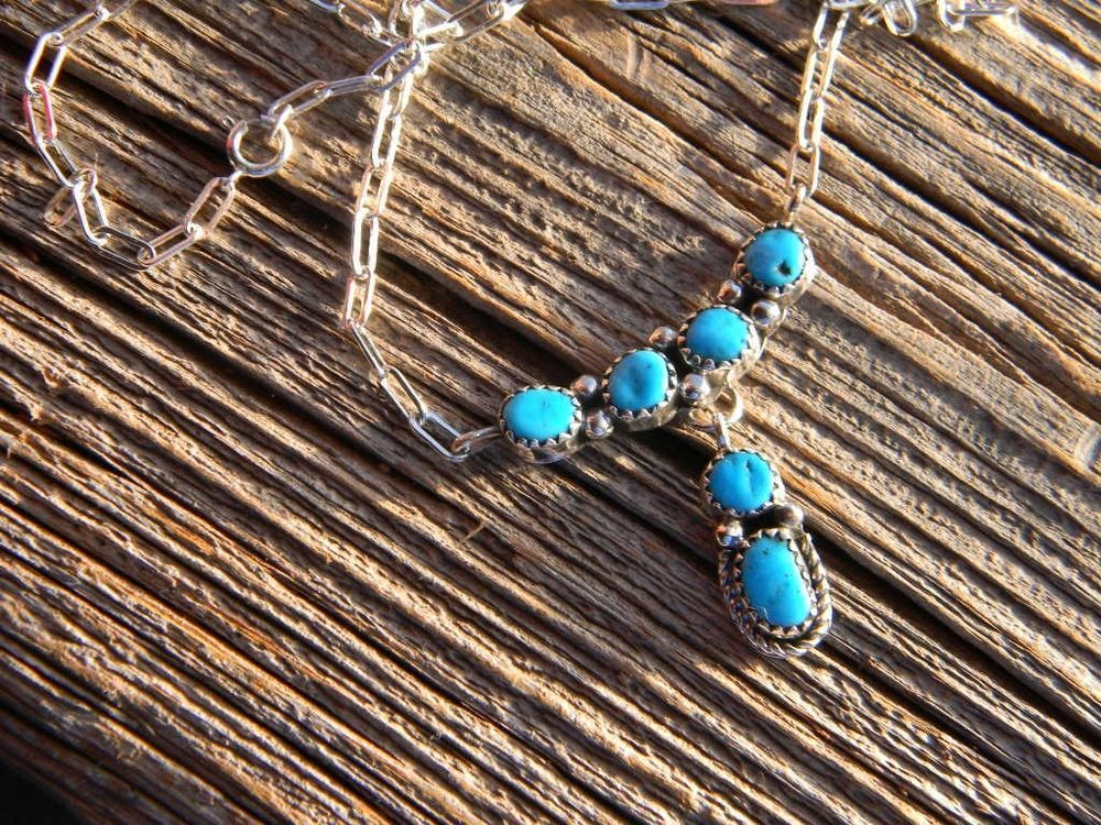 "Sterling silver Navajo made signed ladies necklace 6 turquoise nuggets  18"" long"