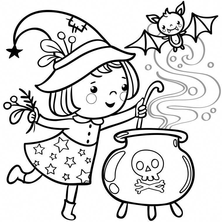 Coloriage de Petite Sorcière et Chaudron Plus #halloweenactivities   Halloween coloring pictures ...