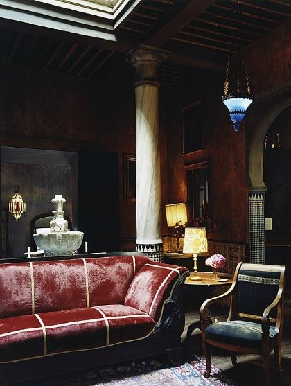 More of Roberto Peregalli's beautiful restoration of this northern Moroccan Riad in Tangiers Morocco.