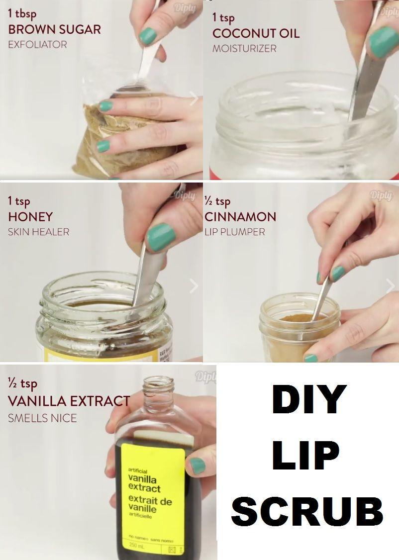 Diy lip scrub brown sugar coconut oil honey cinnamon