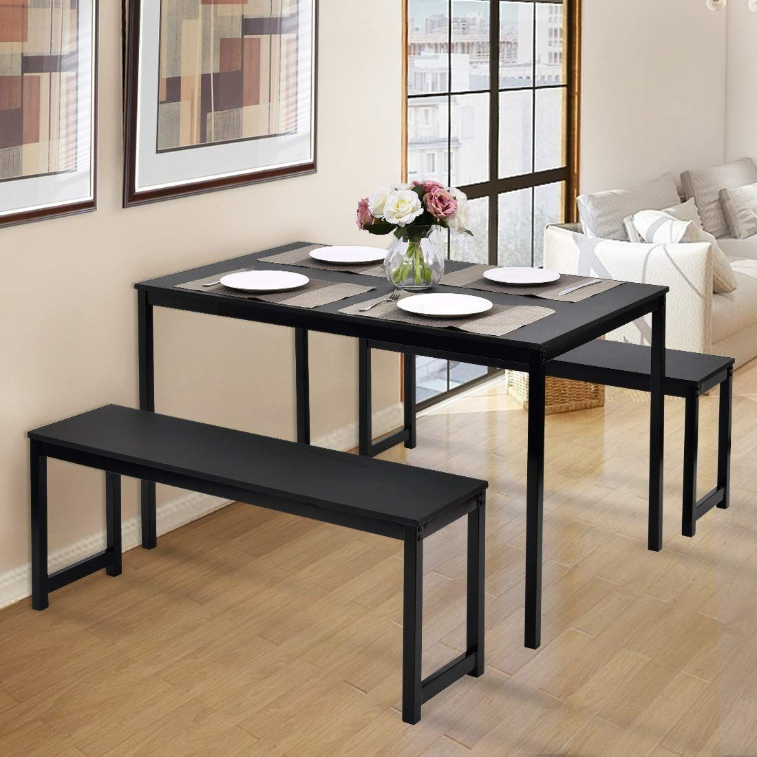 3 Piece Dining Table Set With Two Benches Dining Room Furniture Modern Kitchen Table Wood Dining Decor