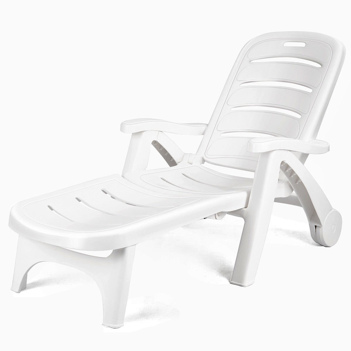 5 Position Adjustable Patio Recliner Chair With Wheels Deck