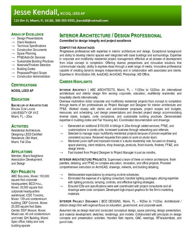 Free Interior Design Resume Templates resume samples - resume format and examples