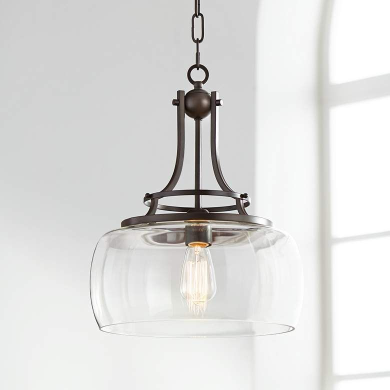 """Charleston 13 1/2"""" Wide Clear Glass and Bronze Pendant Light -  4F066 