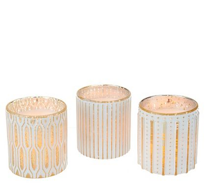 Qvc Flameless Candles New Candle Impressions S3 Flameless Candles In Patterned Glass Inspiration Design