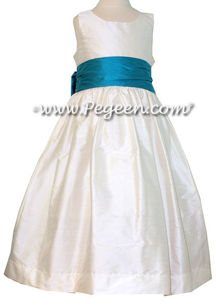 2a81e9995 Flower Girl Dresses by Pegeen.com Style 388 - White with Turquoise Sash.  All silk with attached crinoline from our Classic Collection by Pegeen.com  ...
