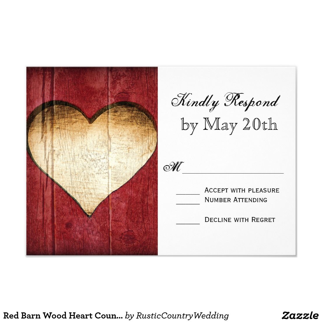 Red Barn Wood Heart Country Wedding RSVP Cards   Perfect Weddings ...
