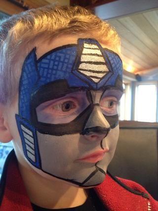 Transformer Face Paint : transformer, paint, Optimus, Prime, Transformers, Painting, Boys,, Painting,, Paint