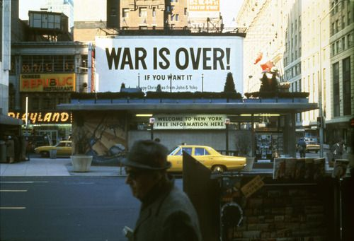 "© Yoko Ono, 1969, ""War Is Over!"", Times Square, NYC -- The terrible Vietnam War ended 38 years ago today. On 30 April 1975, Vietnamese People's Army troops entered the city of Saigon and quickly overcame all resistance, capturing key buildings and installations. President Duong Van Minh, who had succeeded Huong two two days earlier, surrendered. --- More on http://www.burnedshoes.com"