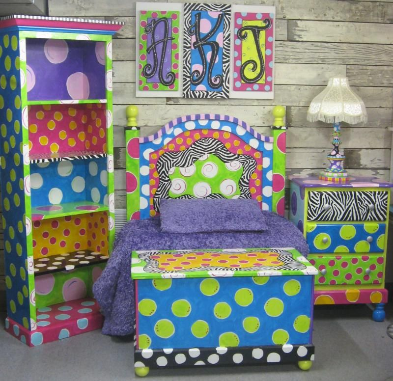 Funky Girls Bedrooms Awesome Painted Furniture And Decori Want To Do This  The .