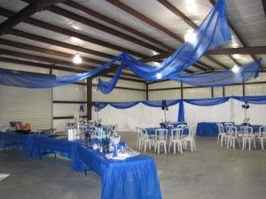 Blue Organza Canopy and White Pipe and drape with Blue Accents & Blue Organza Canopy and White Pipe and drape with Blue Accents ...