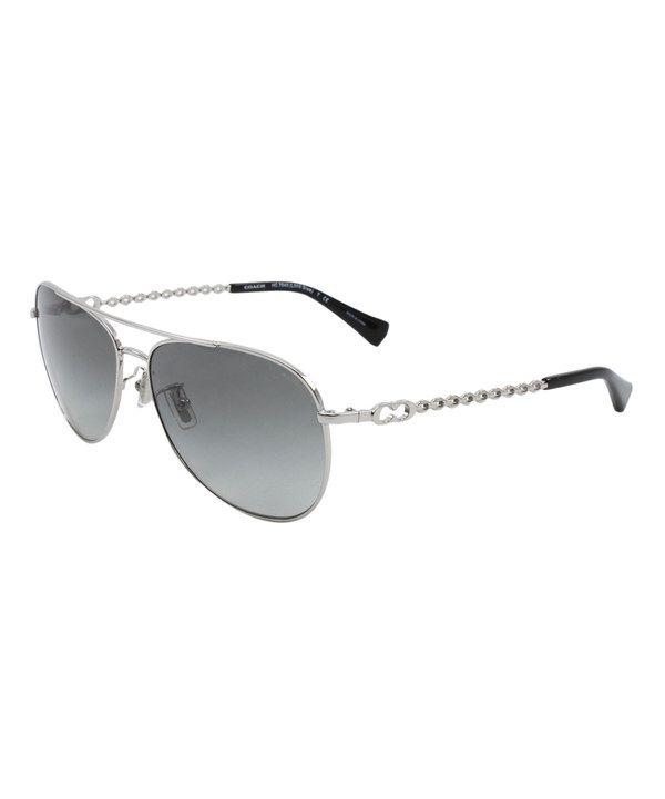 black and silver aviators  Coach Silver \u0026 Black Chain Aviator Sunglasses
