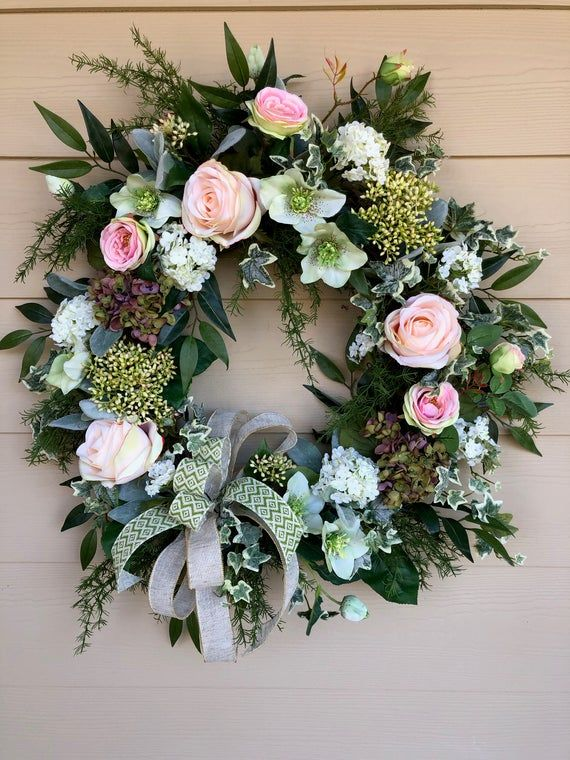 Photo of Spring Wreath for Front Door, Spring Summer Wreath, Rose Wreath for Door, Cottage Style Wreath, Wreath with Bow, Hydrangea Wreath