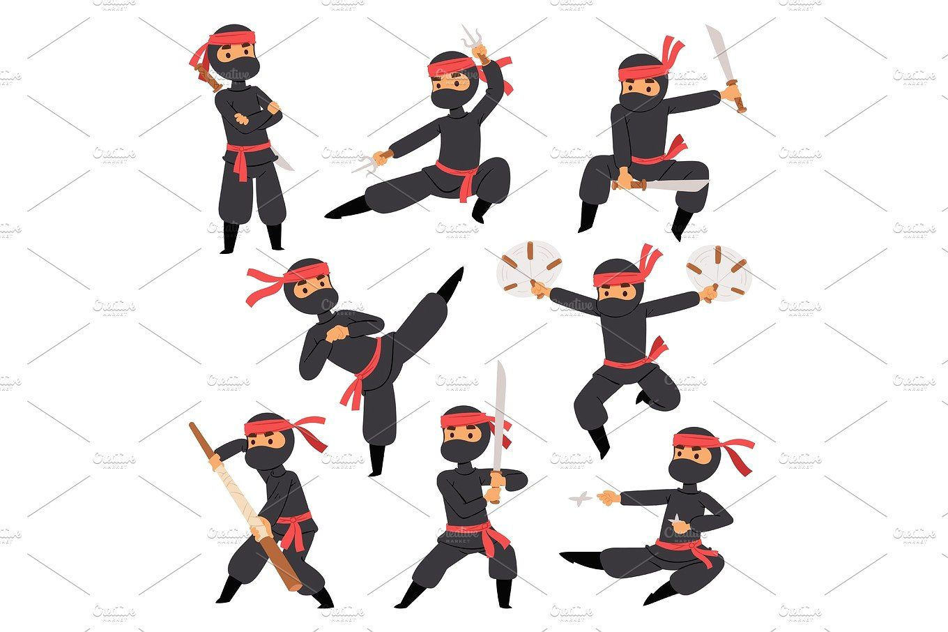 Different Poses Of Ninja Fighter In Black Cloth Character Warrior Sword Martial Weapon Japanese Man And Karate Cartoon Person Action Mask Kick Vector Japanese Men Martial Karate