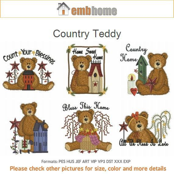 1ca22812c52 Country Teddy Bear Primitive Machine Embroidery Designs Pack Instant  Download 4x4 5x5 6x6 hoop 10 designs APE1642