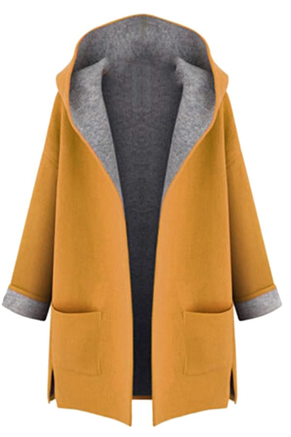 87dcc4c4aab4b Free Shipping Worldwide for Womens Stylish Plus Size Hooded Cardigan Trench  Coat Yellow, on sale now at our lowest price ever! Shop PinkQueen.com, the  sexy ...