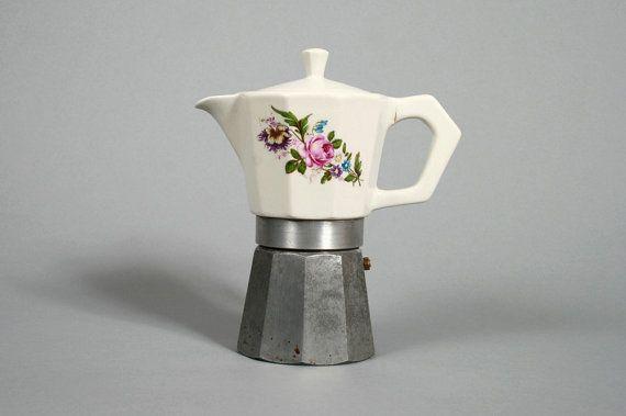 Vintage Ceramic Granny Print Stove Top Espresso Coffee Maker