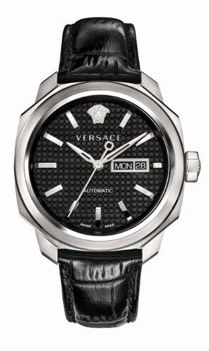 Cheap Cheap Versace Black Vqi010015 Dylos Day Stainless Steel And Leather Watch for Men Online Sale Online