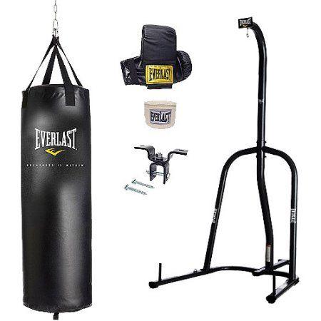 Everlast Dual Station Heavy Bag Stand With 70 Lb Bag Kit Bonus Speed Boxing SALE
