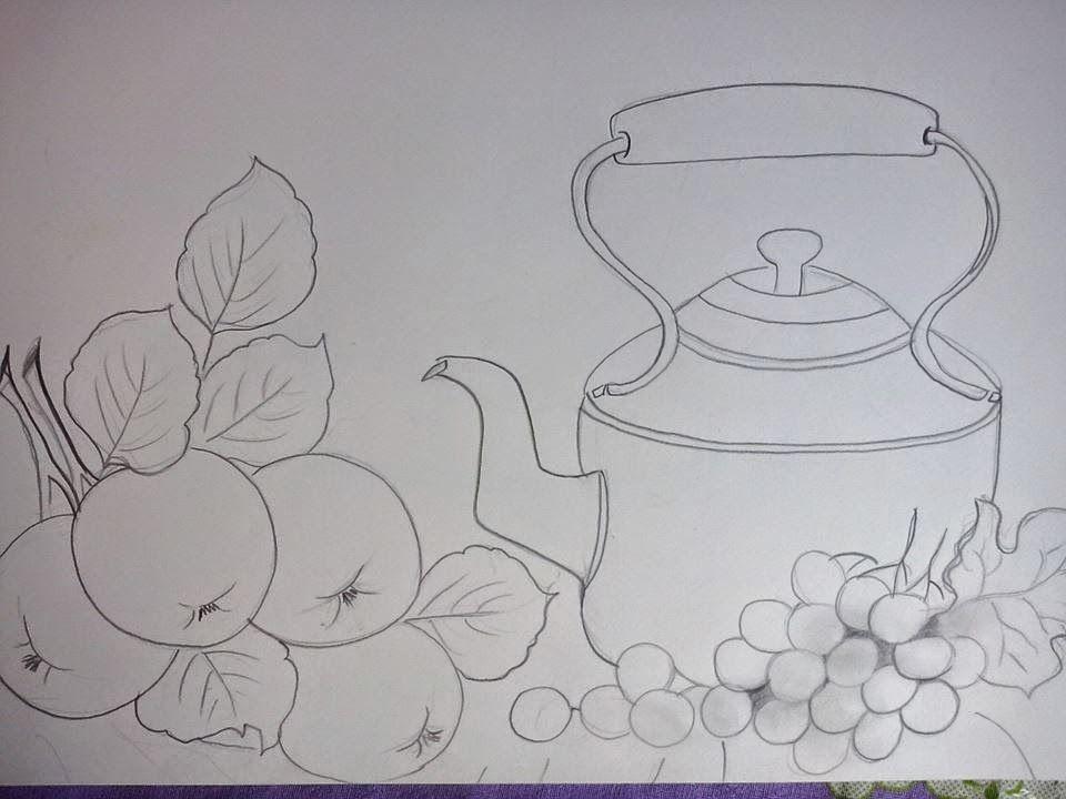 Riscos Frutas Pintura De Vinho Pinturas Riscos Para Pintura