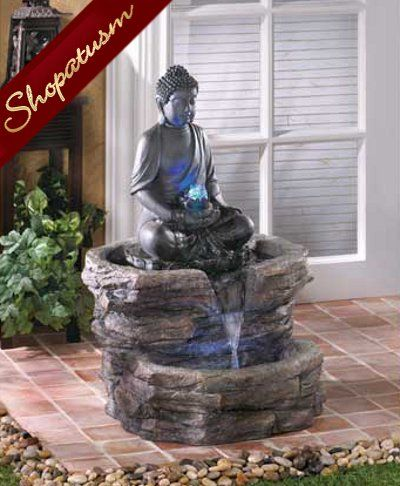 Zen Buddha Indoor Outdoor Garden Centerpiece Fountain