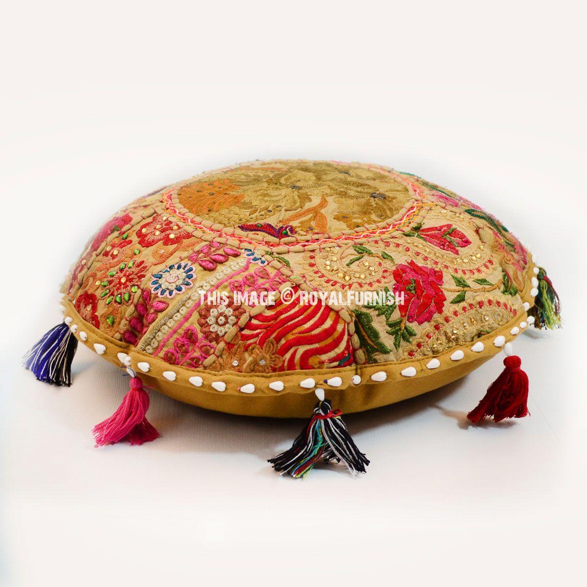 Green Small Round India Handmade Patchwork Floor Sitting Cushion ...