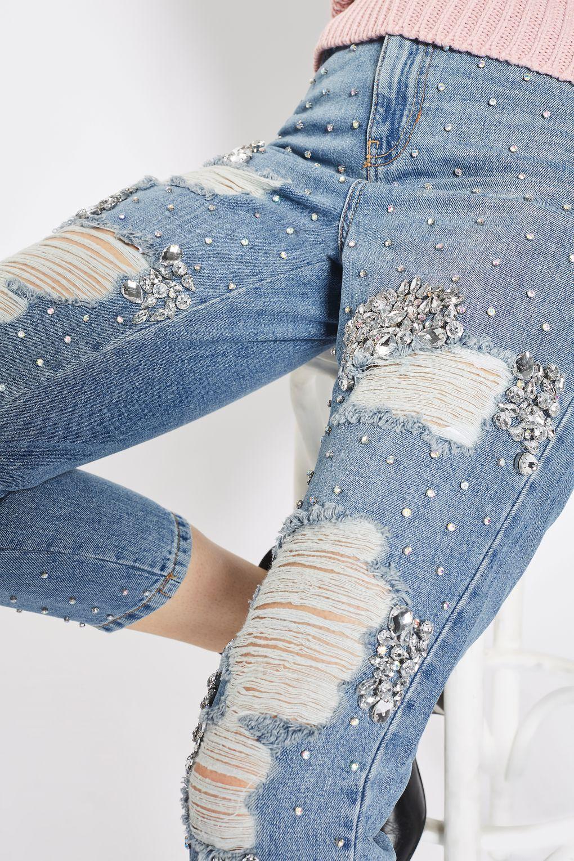 moto limited edition gemstone super rip mom jeans. Black Bedroom Furniture Sets. Home Design Ideas
