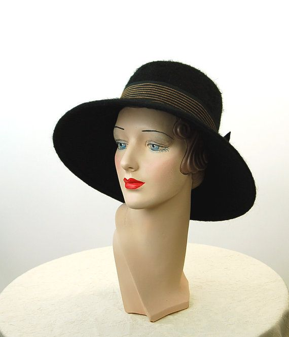 1960s hat wide brim hat picture hat black wool mohair Mahara hat ... 725a21c2e4f