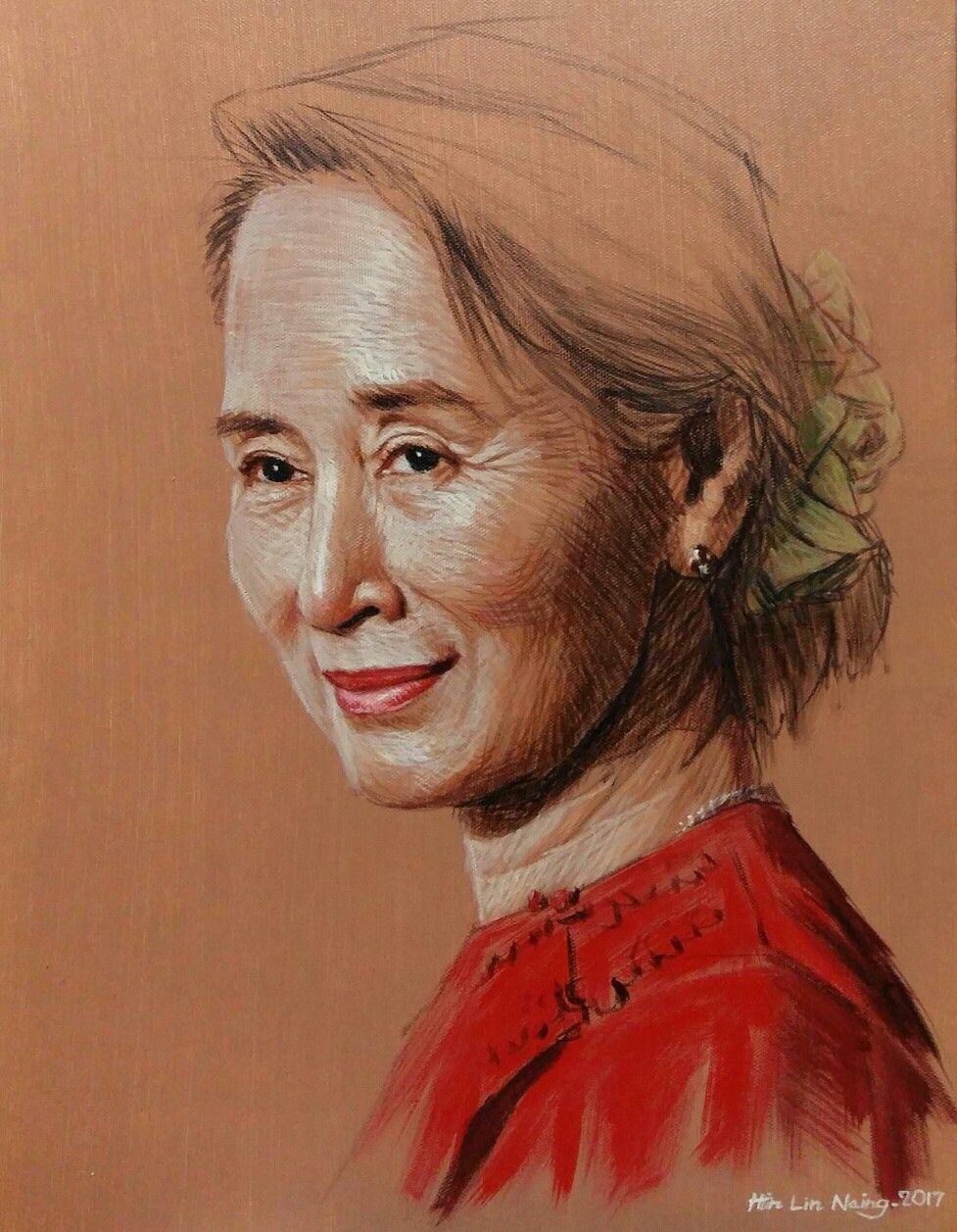 aung san suu kyi x a c by artist htin lin naing myanmar  aung san suu kyi 14 x18 a c by artist htin