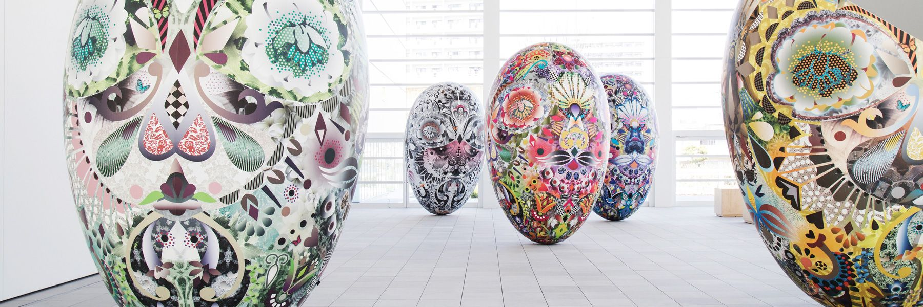 marcel wanders' inflatable egg-shaped objects at OPAM museum in japan
