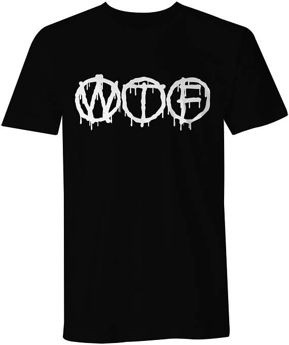 WTF What The Fck T-Shirt Cool Funny Slogan Tee Paint Dripping