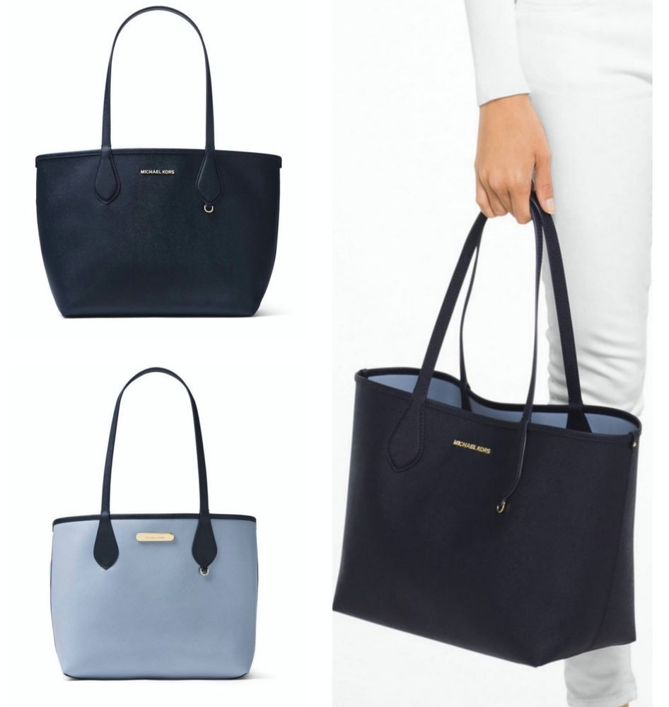 beadefd5d605 Michael Kors Saige Medium Reversible Tote Admiral Pale Blue NWT MichaelKors  TotesShoppers ...