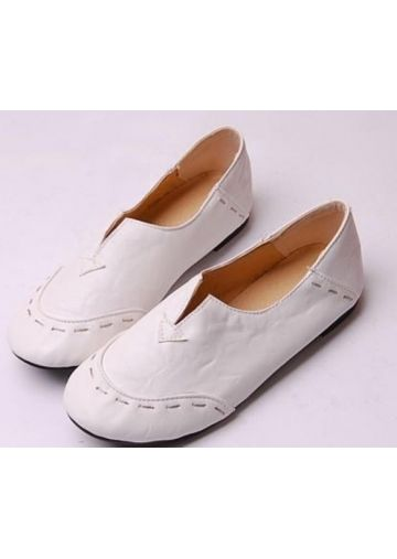 des chaussures à talons plats au au au marteau de cuir blanc de manière   chaussures c6123a