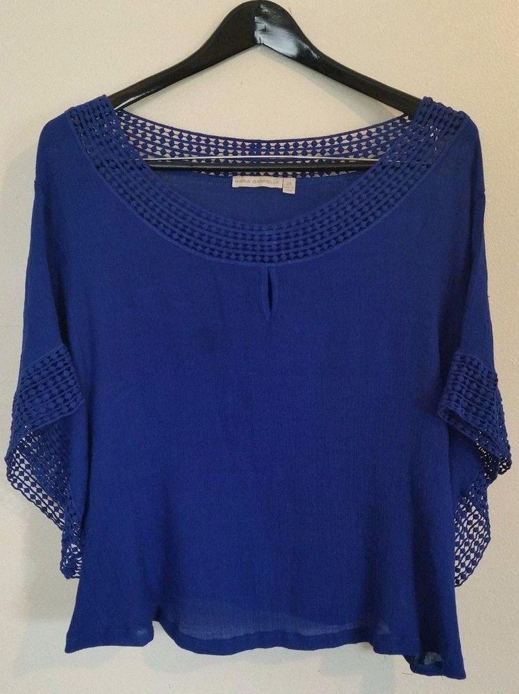 15878dcb4b92bd Maria Gabrielle Blue Boatneck Batwing Crochet Sleeves Neck Trim Rayon Blouse  2X #MariaGabriella #KnitTop