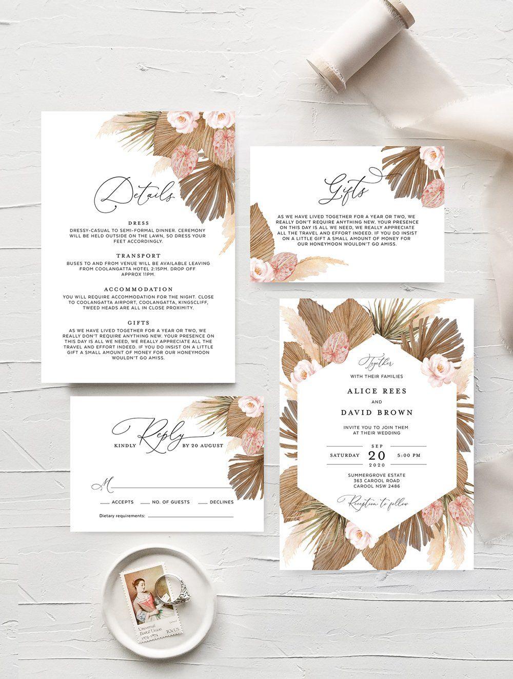 Pampas grass wedding invitation set grass01 in 2020
