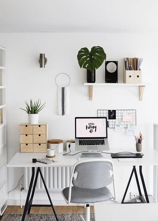 30 Modern Home Office Decor Ideas With Small Plants Kantoor Aan
