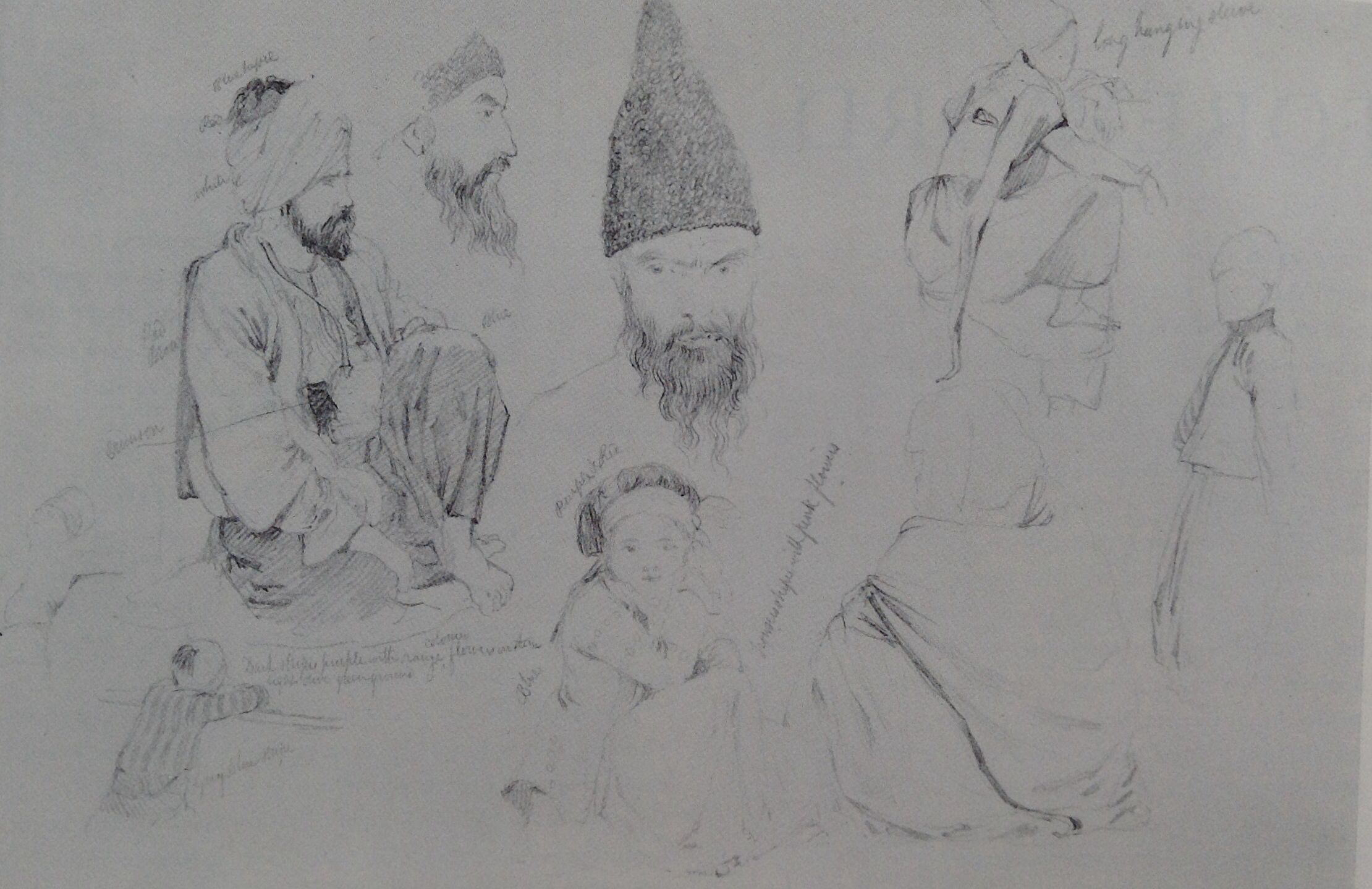 Sketchbook page 'Figure Studies in Turkey & Syria 1842 by Richard Dadd.
