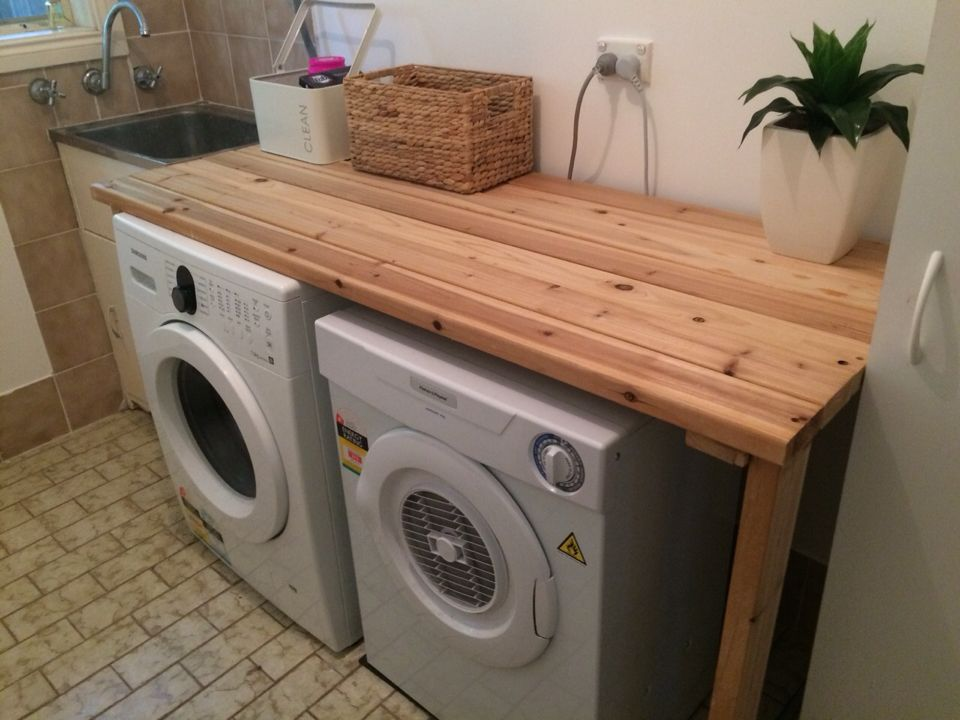 Diy Laundry Bench Made From A Used Bed Frame Base Dream Laundry Room Diy Laundry Laundry