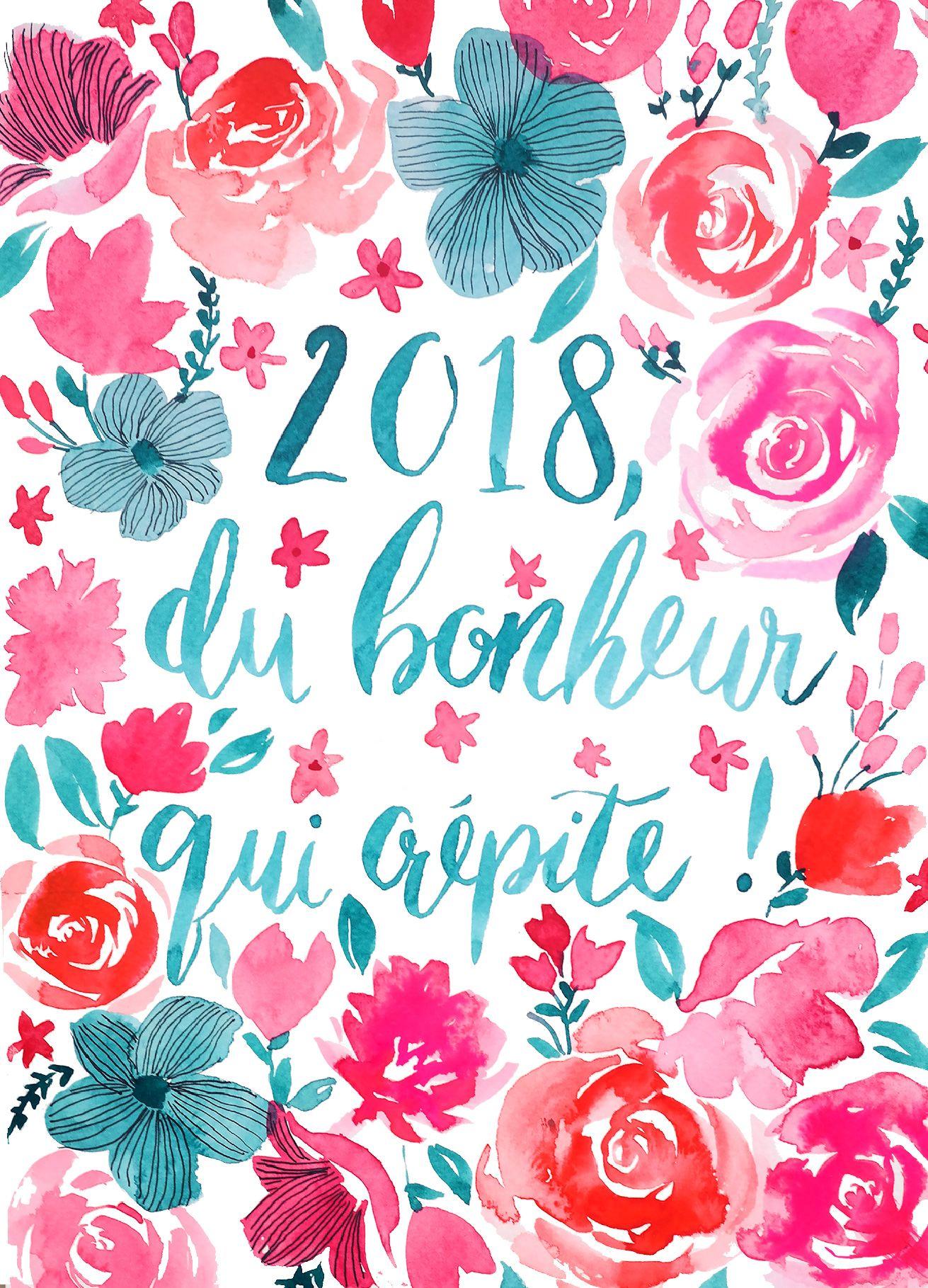 Carte De Voeux Aquarelle 2019 Carte De Voeux Aquarelle Fleurs