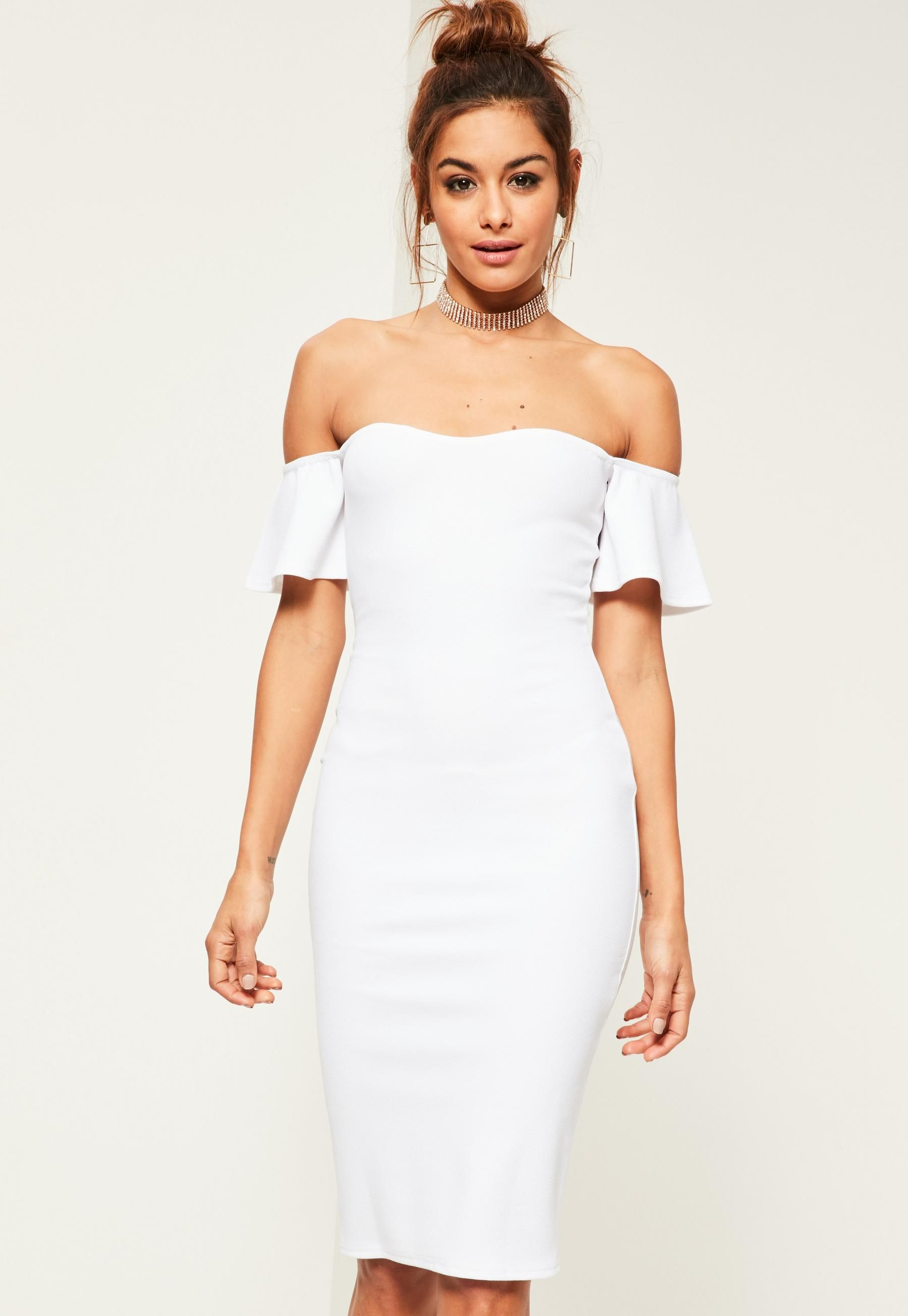 d5efc376e7dab White Bardot Bodycon Midi Dress | dressies | Dresses, Bardot midi ...