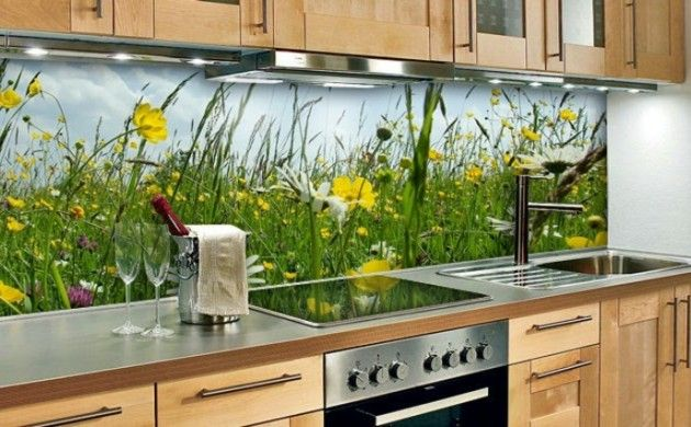 glasrückwand gelbe blüten küche grün frisch spüle herd Küche - essecken für küchen