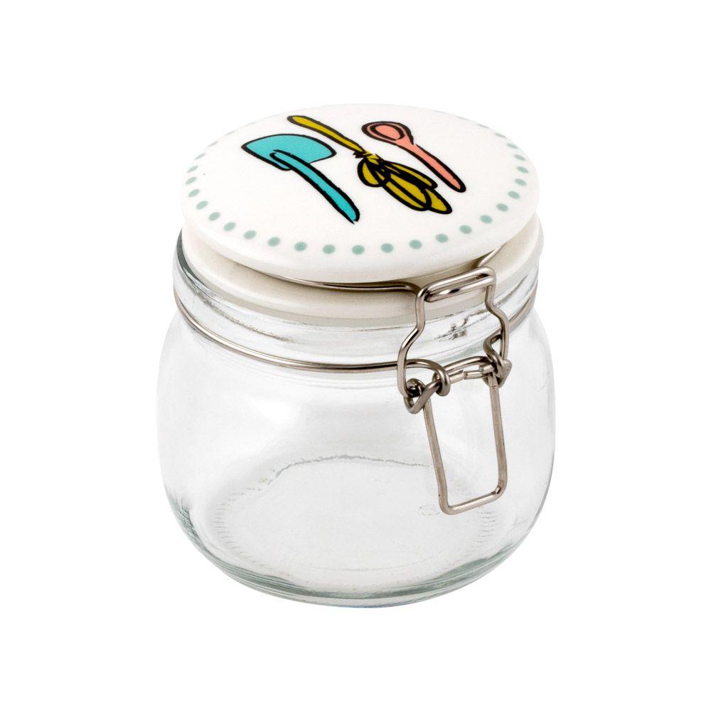 Frasco de vidrio con tapa de cerámica, cierre hermético con gancho de metal para guardar y organizar alimentos.