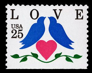 The 25-cent Love special stamp was issued on January 18, 1990, in Romance, Arkansas. The stamp features two blue lovebirds over a deep pink heart and a decorative green garland. Designed by Jayne Hertko, this issue is the ninth edition in the popular Love Series.