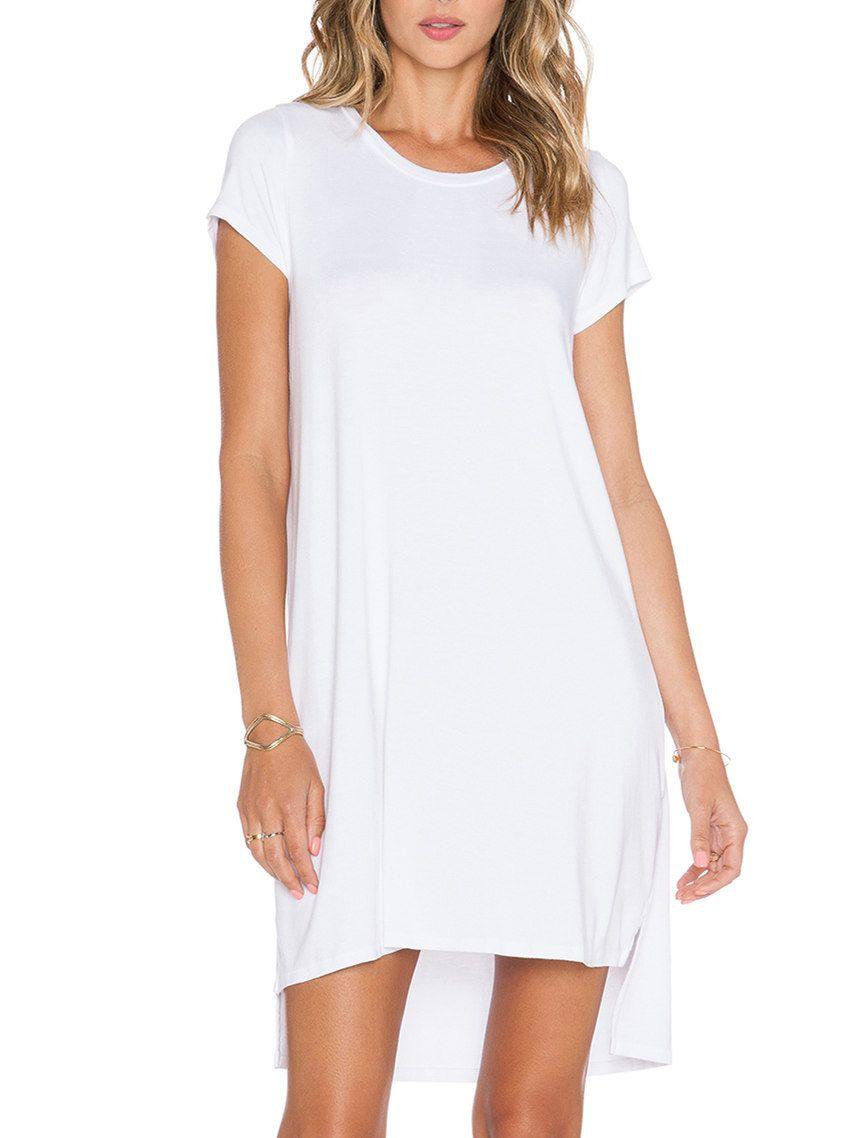 White short sleeve high low tshirt dress clothes pinterest