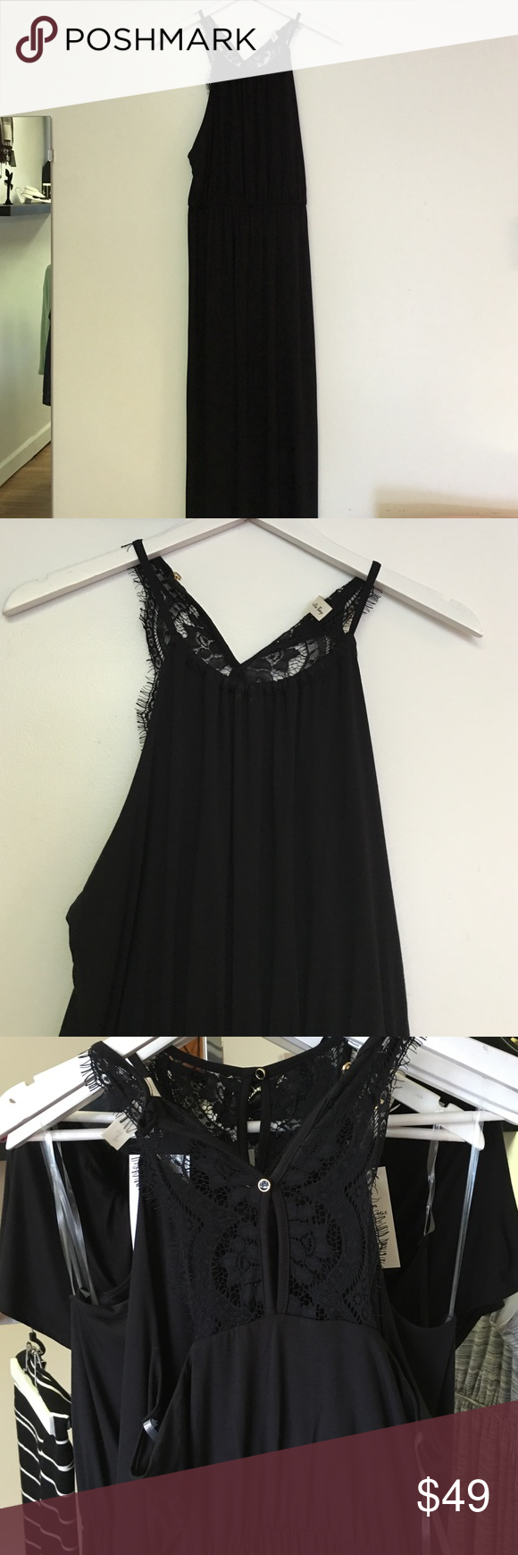 Lace maxi dress Black maxi dress with lace detail in the back Dresses Maxi