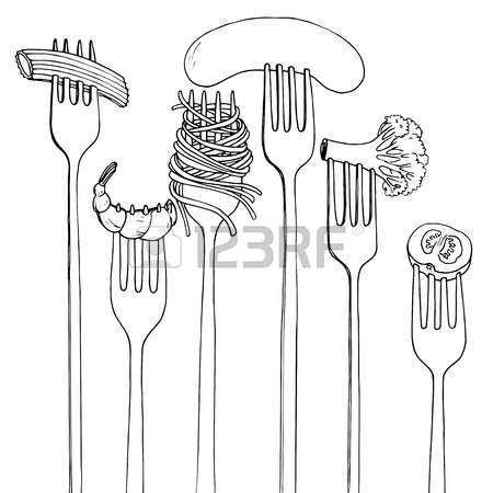 forks with foods, spaghetti,broccoli,sausage and shrimp, hand..
