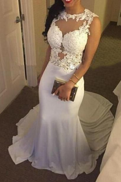 Lovely White Mermaid Spandex Long Prom Dress with Lace Applique ...