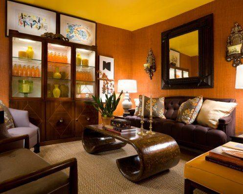 Brown And Yellow Room Living Room Decor Orange Living Room